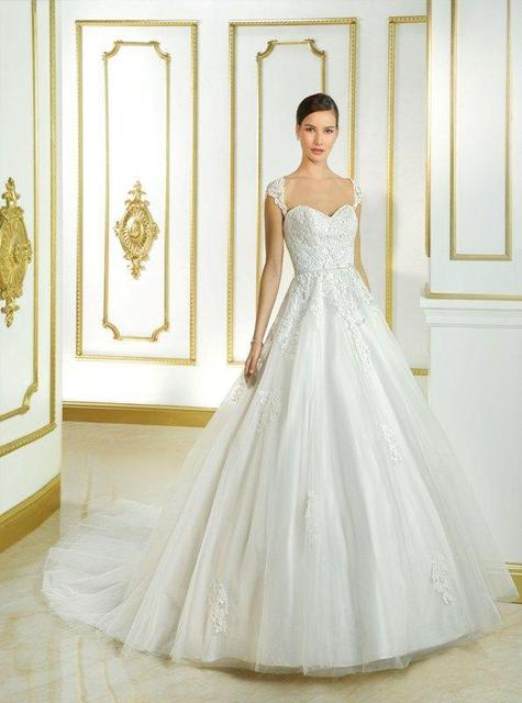 Cap Sleeves Ball Gown Princess Tulle Sweetheart neckline Belt 2015 ...