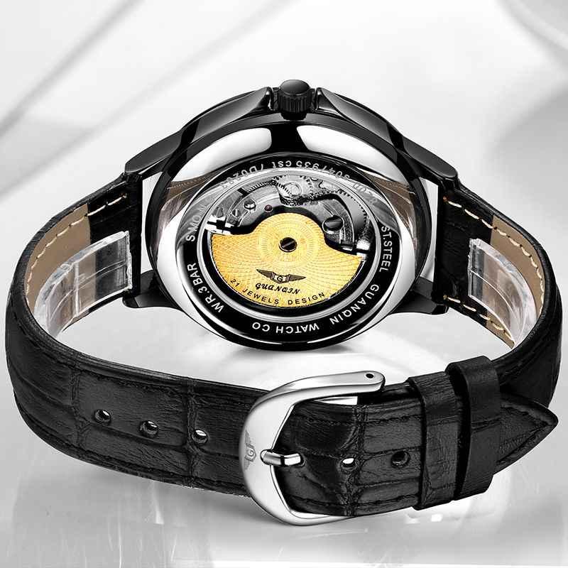 GUANQIN 2018 nuovi uomini della vigilanza impermeabile Automatico degli uomini Luminosi orologi top marchio di lusso di scheletro orologio da uomo in pelle erkek kol saati
