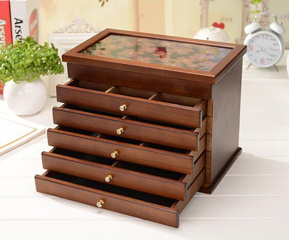Wood Jewelry Box Storage Gift Display Box Jewelry Lagre Gift Box Packaging casket marriage holiday gift makeup organizer box