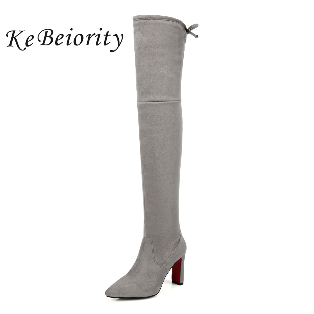 KEBEIORITY 2017 Grey Black Thigh High Boots Women Pointed Toe High Heels Over the Knee Boots Sexy Women Booties Plus Size 33-48 nayiduyun new fashion thigh high boots women faux suede point toe over knee boots stretchy slim leg high heels pumps plus size