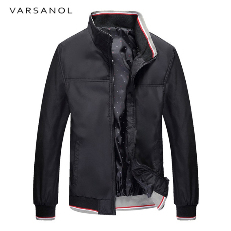 Varsanol Mens Cotton Jacket Zipper Long Sleeve Coats Stand Collar Male Jackets Outwear Casual Outerwear New Windbreaker Men2017