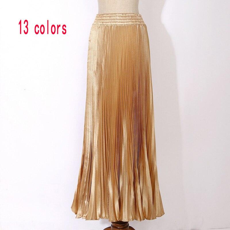 Dámské sametové dlouhé kovové skládané sukně 2017 letní vintage příležitostné vysoký pas ženy měkké retro vysoce elastické elegantní dámy