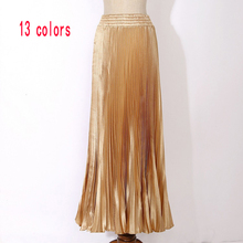 Womens Velvet Long Metallic Pleated Skirt 2017 Summer Vintage Casual High Waist Female Soft Retro High Elastic Elegant Ladies