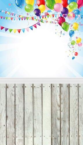 3d Sky Blue Colorful Balloons Photography Backdrops 5*6.5ft Birthday Flags Wood Floor Newborn Photo Background Studio Fotografia allenjoy studio photo background vintage colorful flags birthday blue floor photocall vinyl backdrops for photography