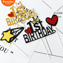 10pcs/bag First Year Happy Birthday Cake Topper Baby Shower Boys&girls Gifts Cupcake Topper Kids 100 Days Party Cake Decoration 10pcs lot love heart balloon cake topper happy birthday party cake decoration kids beautiful favors and gifts baby shower decora