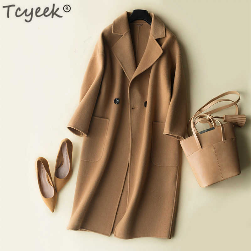 Tcyeek Autumn Winter Coat Women 100% Wool Coat Female Long Jackets Korean Spring Sided Woolen Clothes Black Overcoat LWL1324