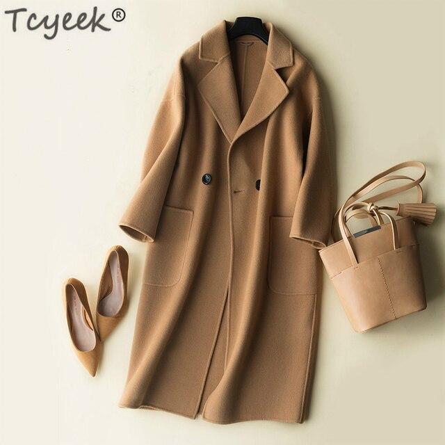 Tcyeek осенне-зимнее пальто женское 100% шерстяное пальто женские длинные куртки Корейская Весенняя Двусторонняя шерстяная одежда черное пальто LWL1324