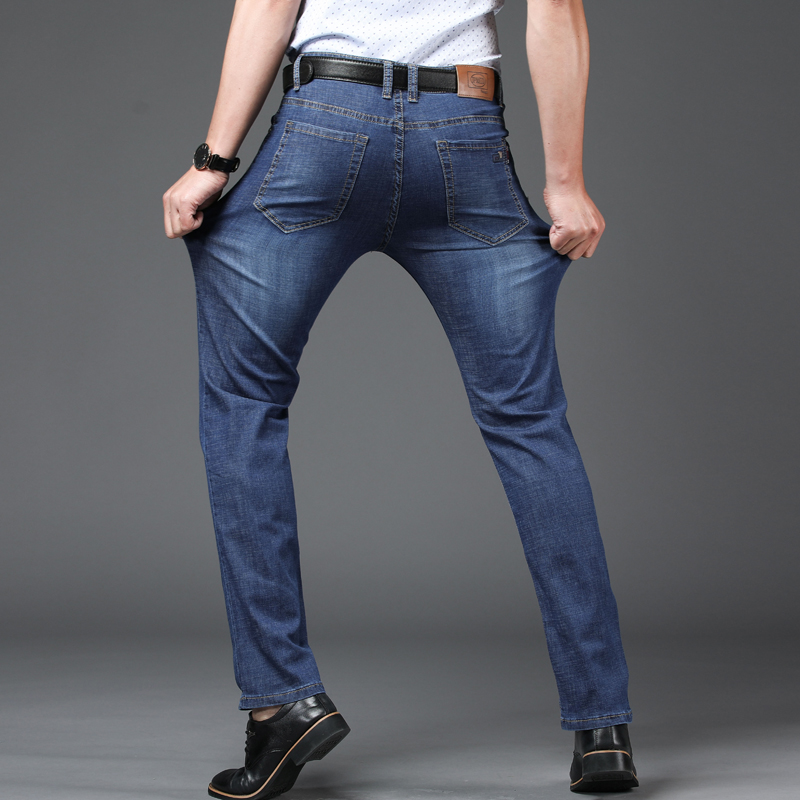 New Men Jeans Business Mens Casual Straight Slim Fit Blue Jeans Stretch Denim Pants Trousers Classic Skinny Jeans Men EF45NB
