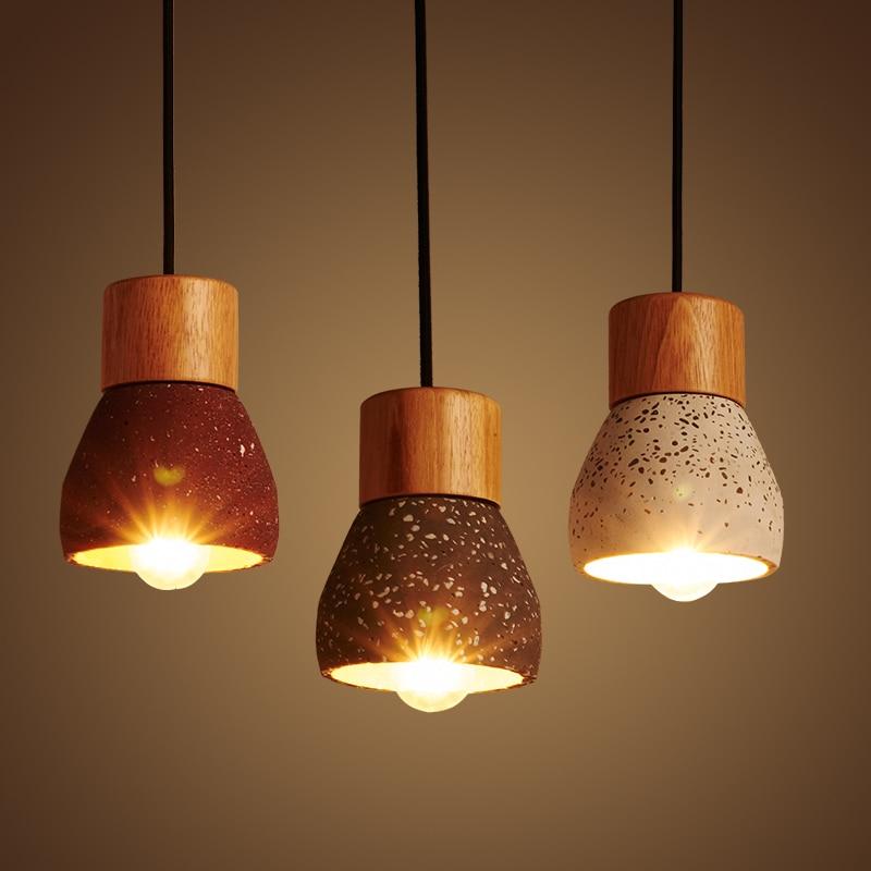 Американский кантри стиль цементный подвесной светильник 120 см проволока E27/E26 розетка подвесной светильник 4 цвета Дерево внутреннее украшение подвесной светильник