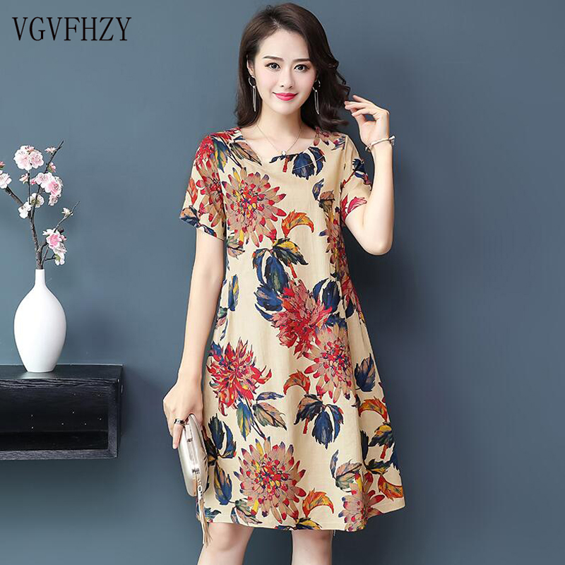 New Style Summer Dress Sweet Printed Fashion Women Dress Cotton silk Short sleeve Dress Leisure Big