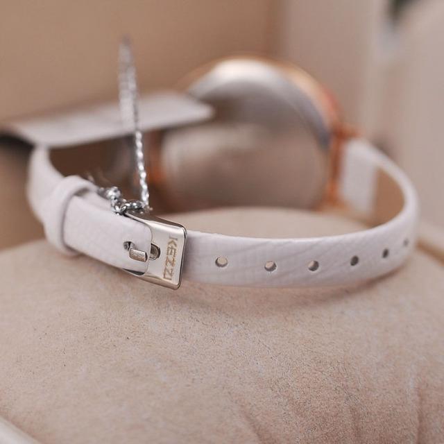 KEZZI Brand Luxury Crystal Quartz Watches Fashion Fine Inlaid Rhinestone Dial Leather Strap Ladies Dess Watch relogio feminino