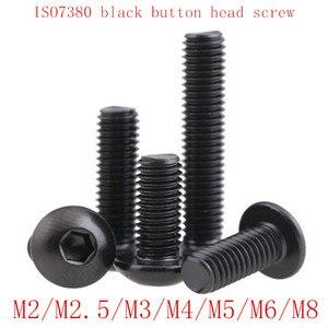 50PCS ISO7380 black button head screw M2 M2.5 M3 M4 M5 M6 M8 Hexagon Socket round head Screws Hex Socket Screw