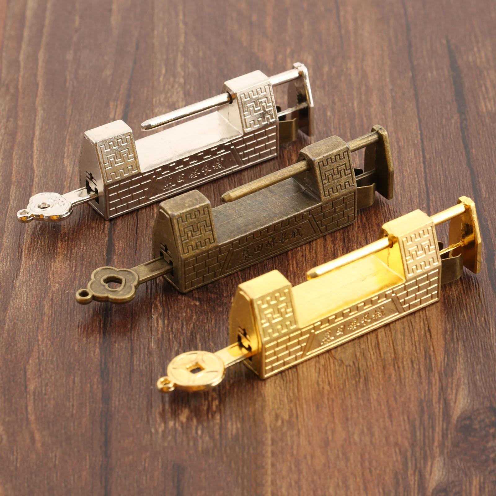 DRELD Vintage Old Lock Retro Great Wall Padlock Jewelry Wooden Box Padlock Lock for Suitcase Drawer Cabinet Door Hardware Locks
