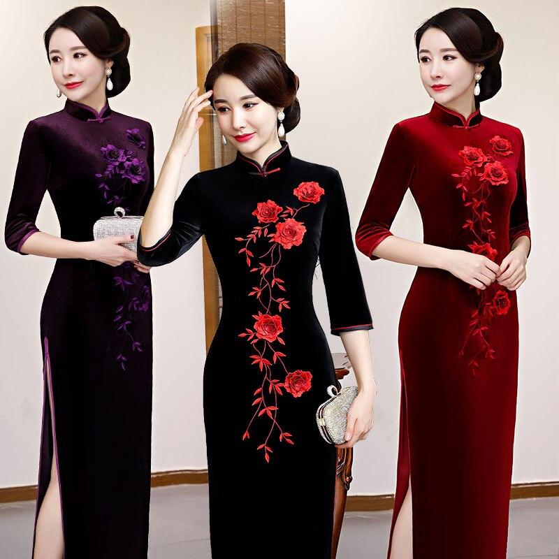 Nouveau automne hiver velours dame Slim Qipao fleur élégant haute Split Cheongsam nouveauté cheville-longueur robe chinoise grande taille M-4XL