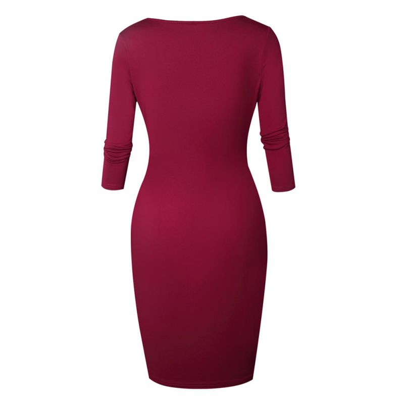 New Sexy Low Chest Bodycon Dress Autumn Winter Zipper Three Quarter Sleeve Package Hip Dresses Christmas Party Vestidos S4