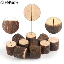 OurWarm 50/20/10pcs Natural Wooden Table Number Stand Place Name Memo Card Holder Seat Folder Rustic Wedding Party Decoration
