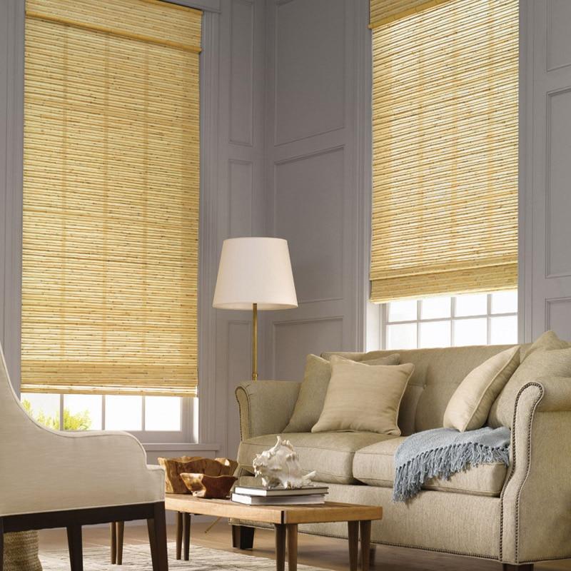 natural yute persianas cortinas de lujo tejido sombra de madera paneles de cortinas de lino de