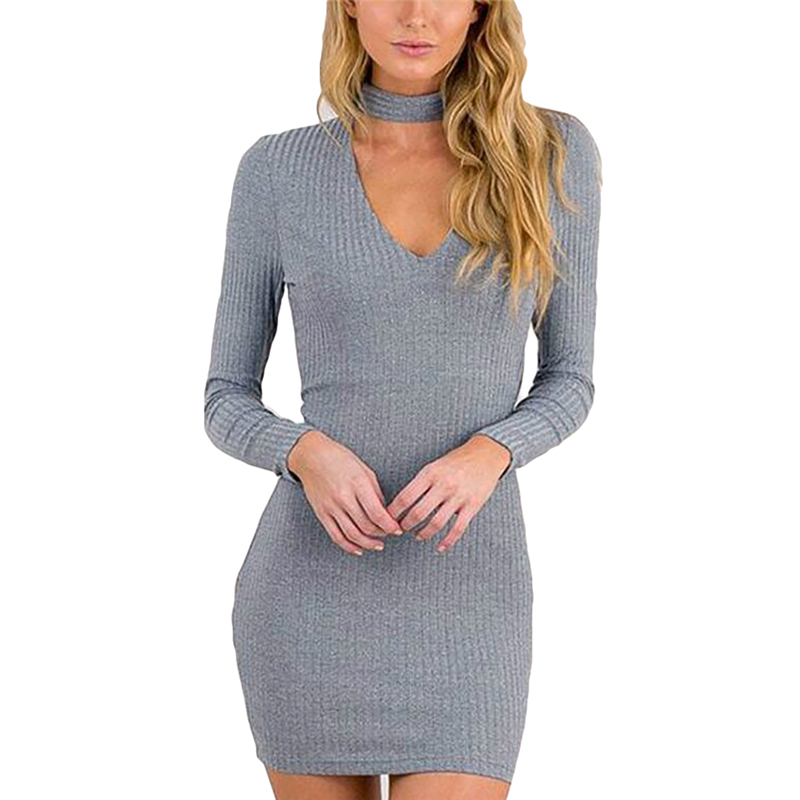 Autumn Winter Pencil Dress Woman Halter Knitted Black Bodycon Dress Women Sexy Short V Neck Sweater