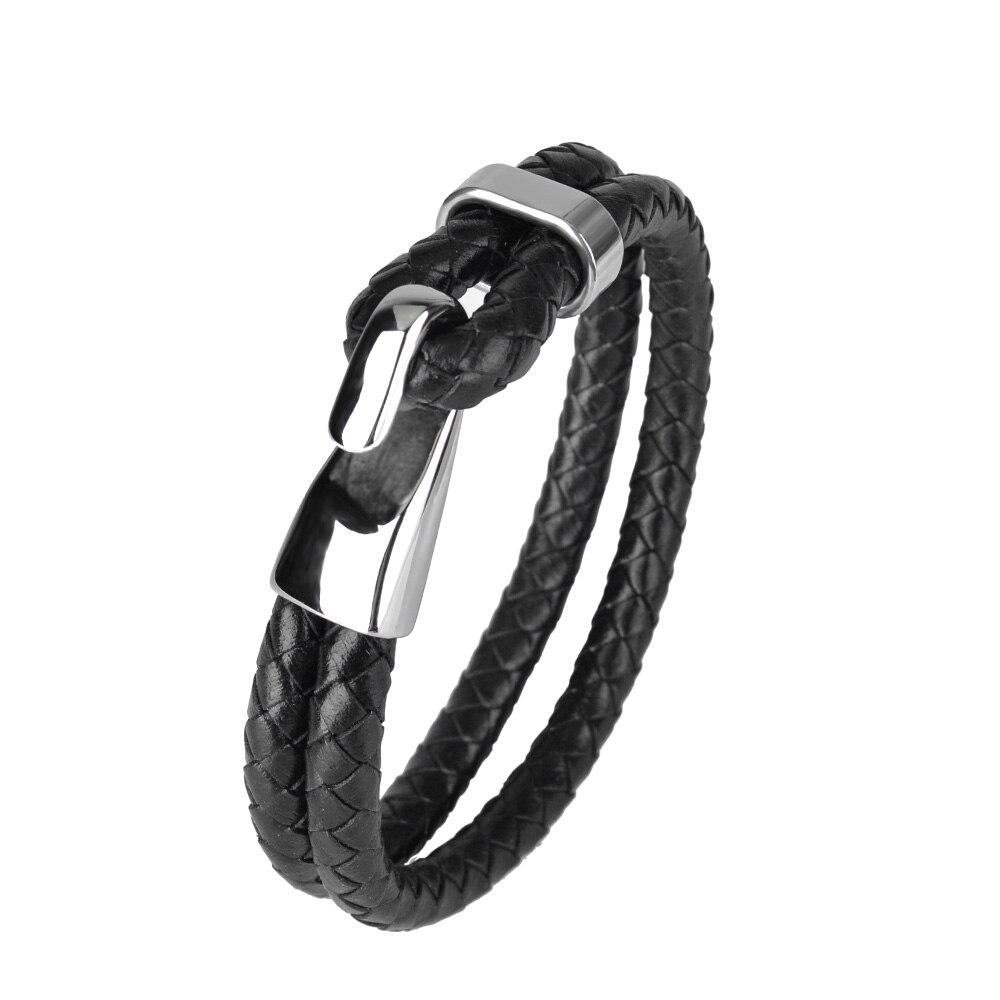 Kirykle vente chaude mode Bracelet en cuir pour hommes tresse multicouche corde chaîne en acier inoxydable crochet bracelet mâle bijoux cadeaux 2