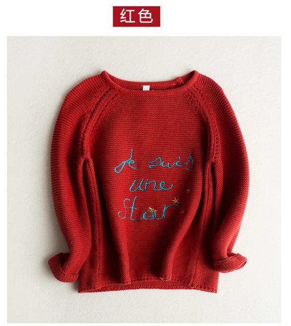 Chica suéteres de otoño primavera nuevo cuello carta de manga larga de punto cardigan Niños niñas Suéter ocasional 2-7 T pullover ropa