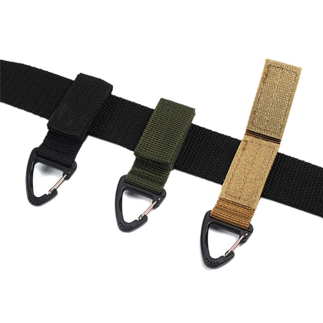 Tactical Backpack Triangle Carabiner Outdoor Tools Nylon Key Hook Webbing Buckle Hanging System Molle Waist Belt Buckle