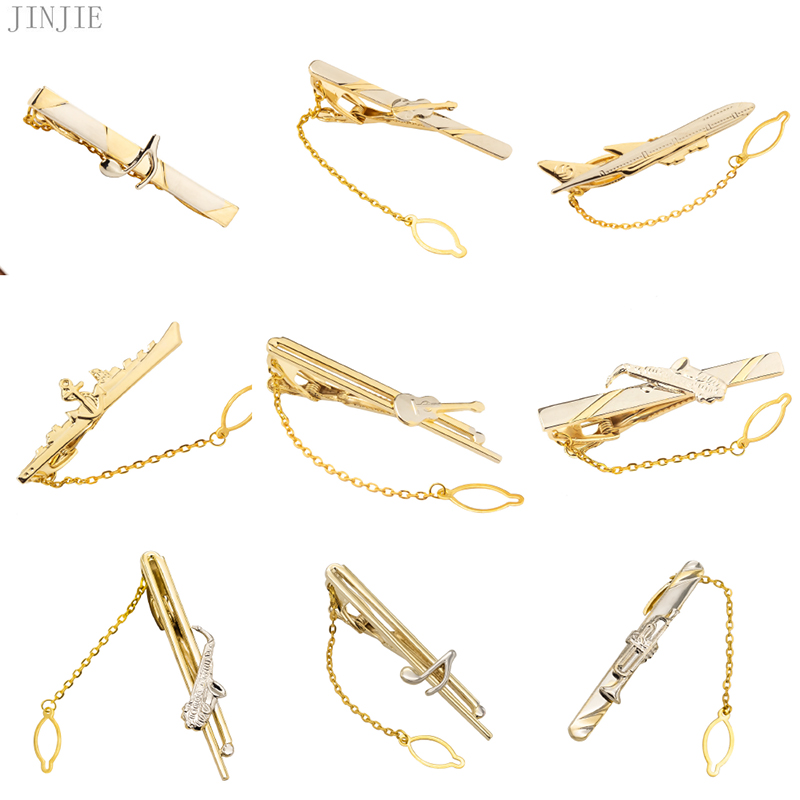 2019 Men Gold Tie Clip Fashion Ship Airplane Musical Instrument Guitar Shape Tie Bar Wedding Tie Pin Jewelry High Grade Gifts image
