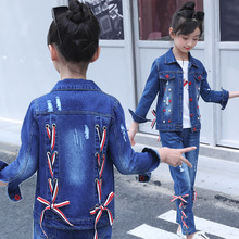 autumn  Children's suit 2018 spring new girl's denim suit big kids two-piece clothing set fashion ties girls denim body suit