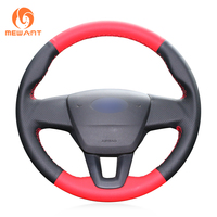 MEWANT Red Black Perforated Leather Hand Sew Car Steering Wheel Cover for Ford Focus 3 2015 2018 without multi function button