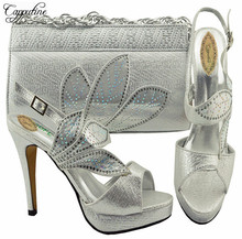 Capputine Decorated With Rhinestone Nigerian Shoes and Bag Set 2018 Silver Color Shoes And Bag Set For Party 6Colors YK1068