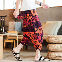 2019 summer new Chinese style cotton and linen men's casual cropped trousers retro large size fashion print harem pants male