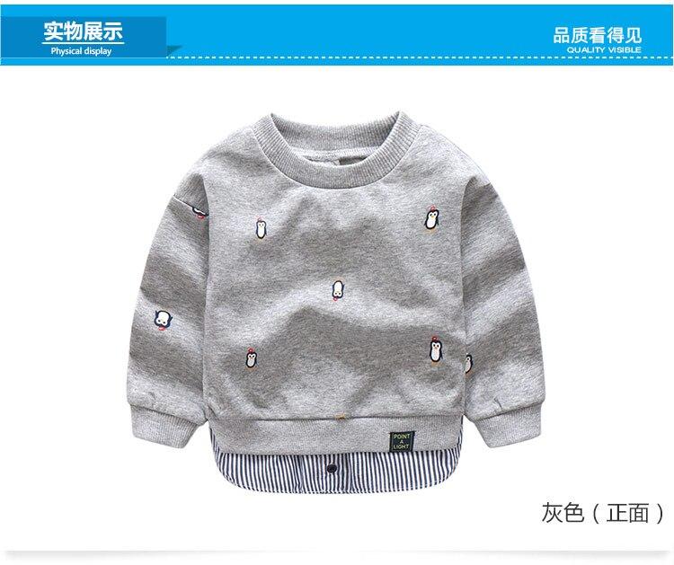 2018 Spring Autumn 2-10 Years Old Children Long Sleeve Cartoon Animal Print Patchwork Fake 2 Pcs Kids Basic Sweatshirt Baby Boy (9)