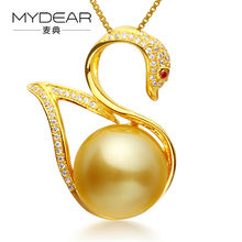 MYDEAR Natural Pearl Jewelry Graceful Slide Pendants Real 10-11mm Burnished Golden Southsea Pearls Pendants Neckalces For Women