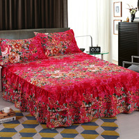 Reactive Printed Royal Series Soft Velvet Queen Size Double Layers Skirt Rims Bed Skirt Chandler Bed Skirt Latest Dropshipping