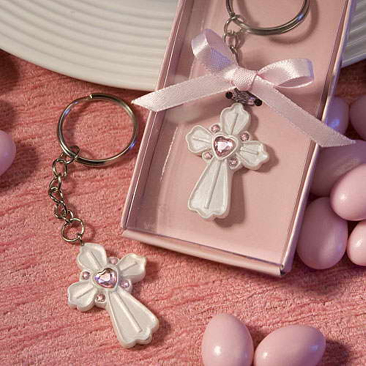 10 Pcs/lot Fashion Party Wedding Crystal Communion Favors Cross Key Chain Keychain Pink Blessing Time