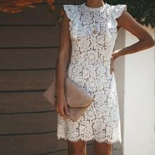 Summer Lace Dress Women Floral Elegant Vintage Sleeveless Casual Patchwork Bodycon Party Dresses Vestido