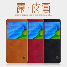 Voor Xiaomi Redmi Note 5 Pro case lederen smart cover, nillkin vintage flip leather case voor Xiaomi Redmi Note 5 Pro