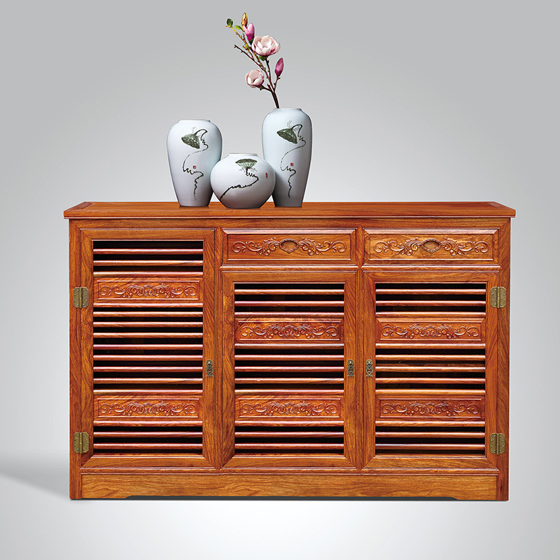 Solid Wooden Three Shoe Cabinet Self-Contained Rosewood Furniture Living Room Shoe Pack Antique Hedgehog Wooden Home Furniture