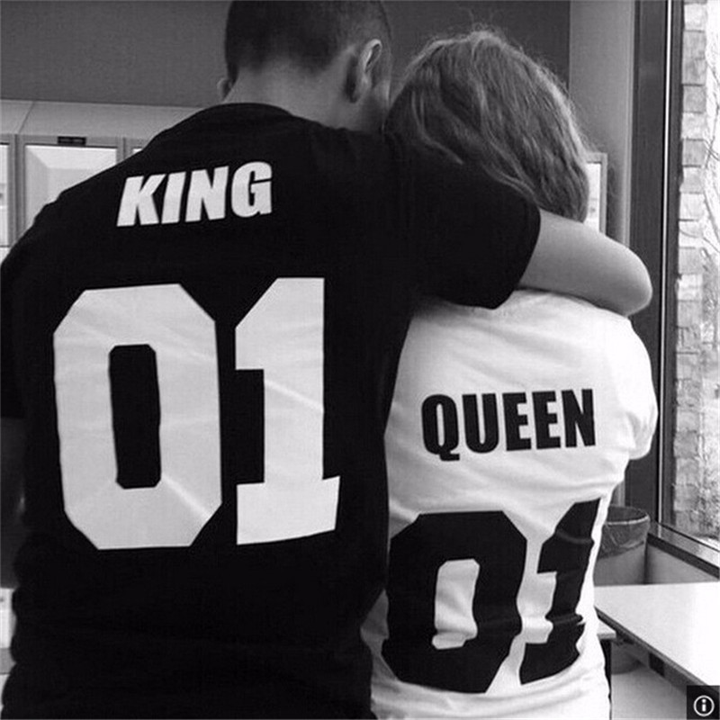 CDJLFH 2016 Newest Casual Lovers Suits Women Short Sleeve O neck Letter Print Man Black T-shirt Women White T-shirt S M L XL XXL