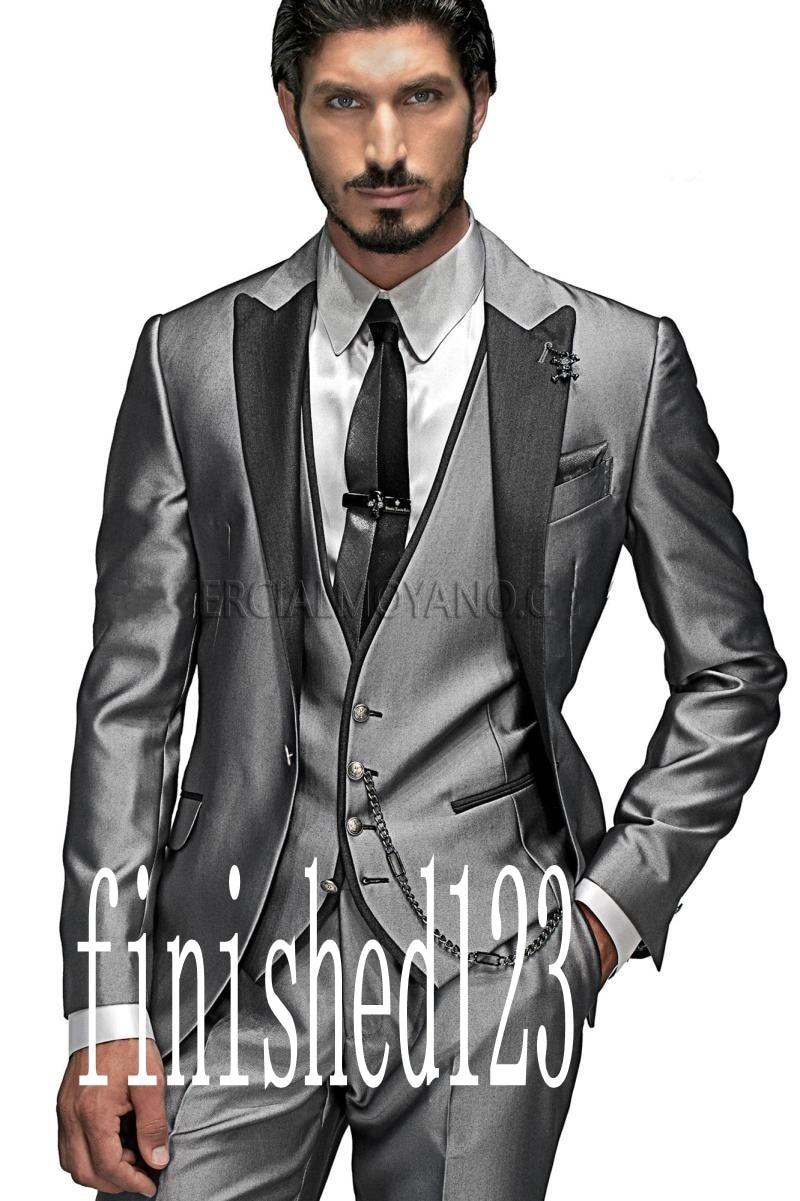 Nueva llegada Un botón Gris plateado Novios Tuxedos Padrinos de boda - Ropa de hombre