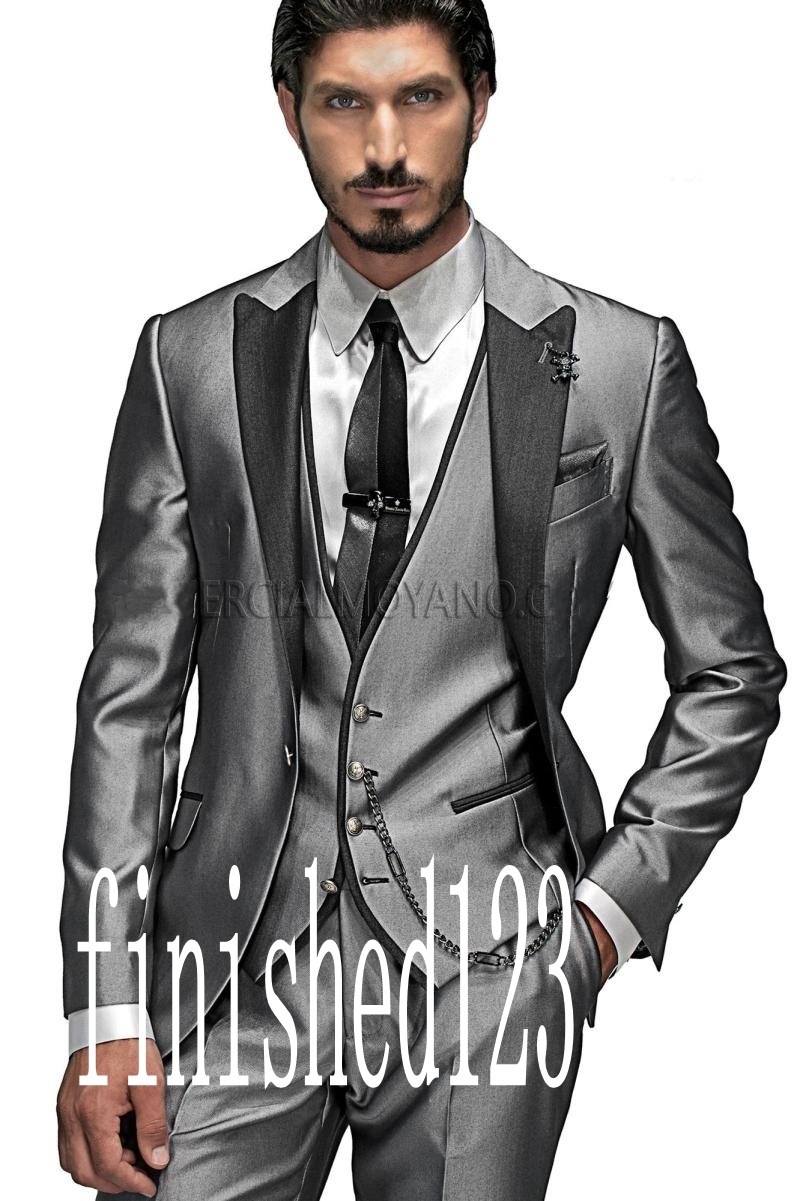 New Arrival One Button Silver Gray Groom Tuxedos Groomsmen Men's Wedding Prom Suits Custom Made (Jacket+Pants+Vest+Tie) K:411