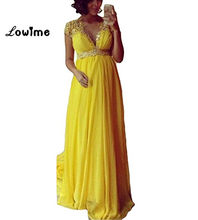 Yellow A Line Applique Beaded Prom Dresses V Neck Formal Evening Gown For  Pregnant Women Chiffon Maternity Party Dress Cheap e6bc346fa1f0