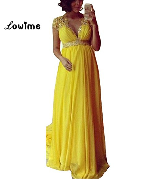 Yellow A Line Applique Beaded   Prom     Dresses   V Neck Formal Evening Gown For Pregnant Women Chiffon Maternity Party   Dress   Cheap