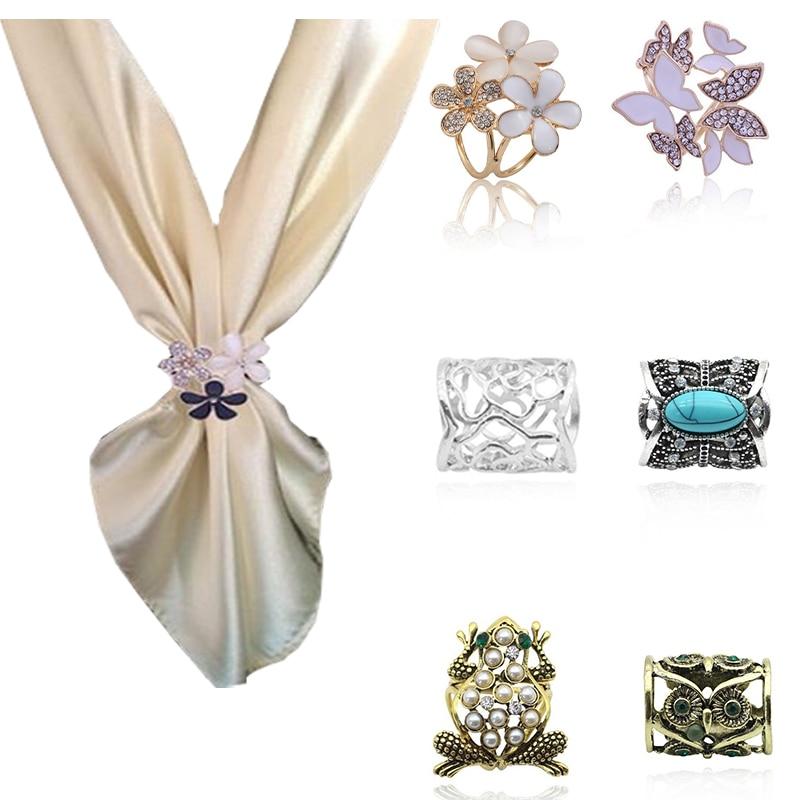 אופנה פרחים ברוך צעיף אבזם זר יוקרה קריסטל ריינסטון צעיף קליפים לנשים חג המולד תכשיטים Dropshipping
