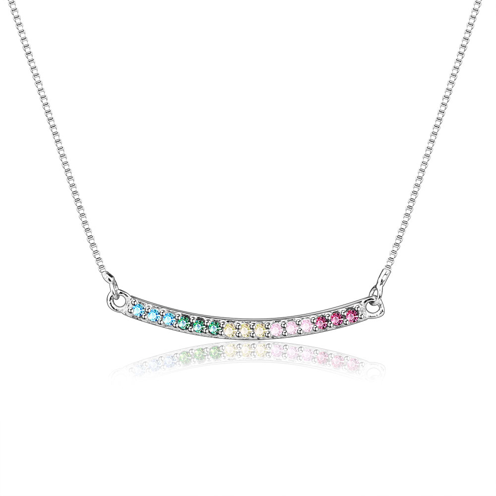 Color CZ Rainbow Arc Fun Of Love Necklace Pendant Real 100% 925 Sterling Silver Necklace For Women Necklace DIY Jewelry Berloque