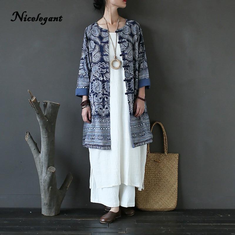 2019 marque printemps manteau Trench femmes nouveau Style chinois imprimer fleur manuel Nature Vintage o-cou femme Art élégant manteau filles