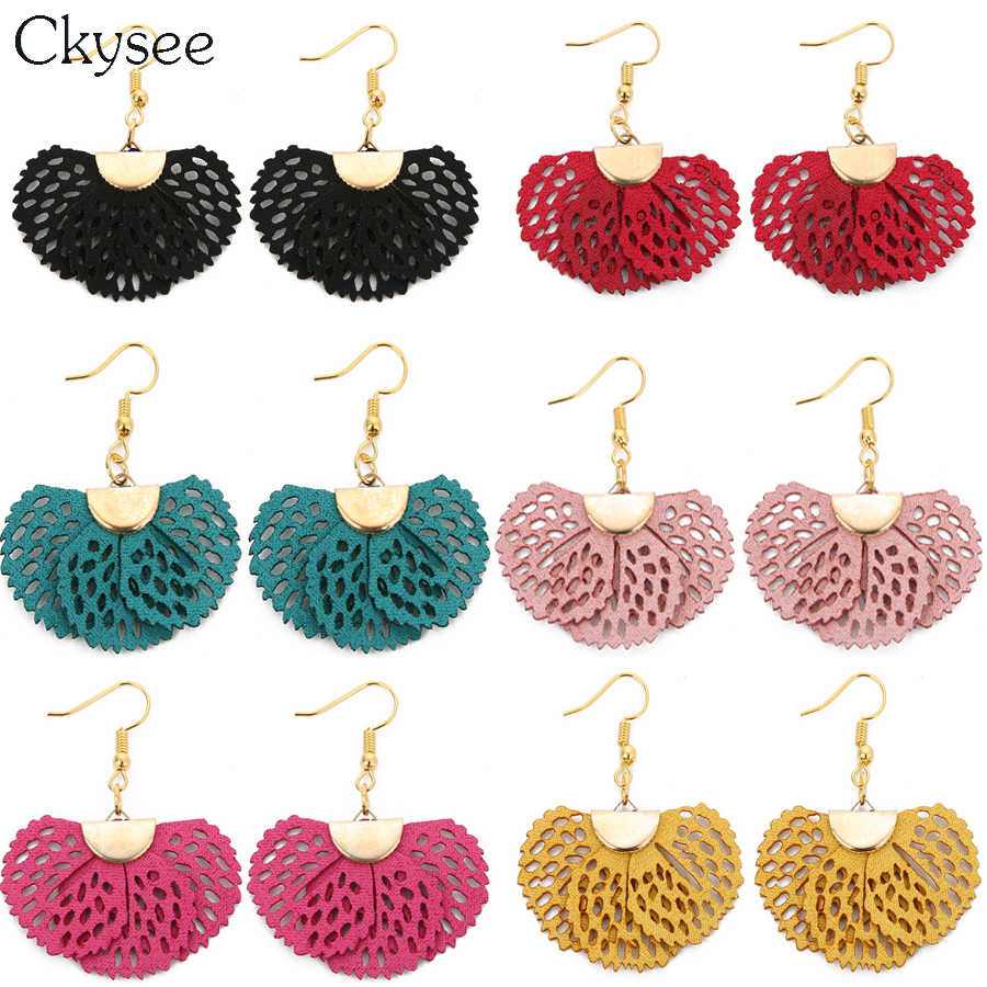 Ckysee Bohemian Geometric Hollow PU Leather Earrings For Women Red Yellow Color 2019 Vintage Big Statement Earrings Brincos
