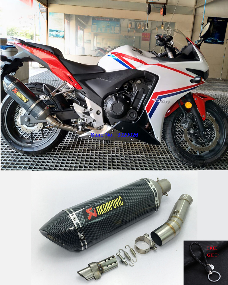 CBR 500 300 Slip On Motorcycle Modified Carbon Exhaust Muffler with Middle Link Pipe For Honda CBR500 CBR300 Escape DB Killer