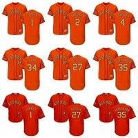 Men S Houston Astros Jose Altuve Justin Verlander Carlos Correa Majestic Orange 2018 Gold Program Flex