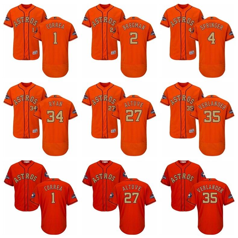 Uomo Houston Astros Jose Carlos Altuve Justin Verlander Correa Majestic Arancione 2018 Oro Programma Lettore Flex Fredda Base Jersey