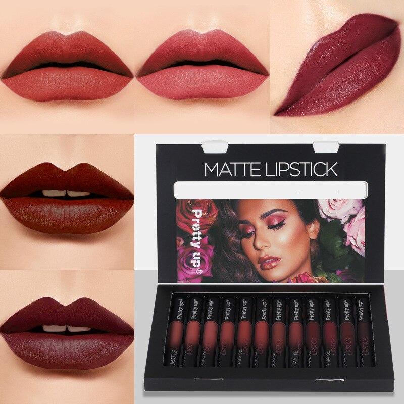 12 Color Matte Lipstick Long-lasting Makeup Waterproof Mate Red Lip Gloss Nude Cosmetic Baton Make Up Liquid Lip Stick